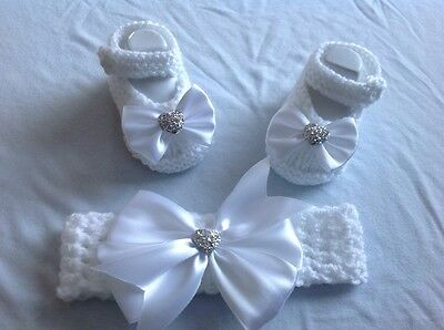 hand knitted /baby girl booties/shoes with headband 0-3 months