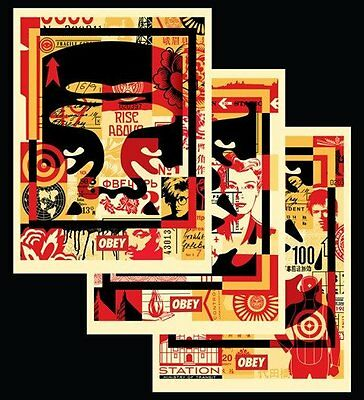 Shepard Fairey - OBEY 3 FACE COLLAGE 18X24 SIGNED OFFSET POSTER SET