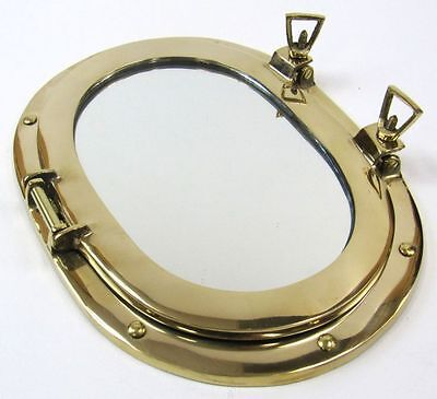 "12"" x 9"" Polished Brass Porthole Mirror ~ Oval, Oblong ~ Nautical Maritime Decor"