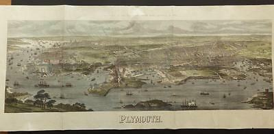 "1872 - Huge Original ANTIQUE PRINT Birds-Eye View ""PLYMOUTH"" - Hand Coloured"