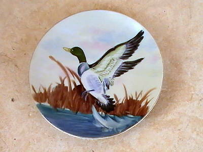 Vintage Lefton China Hand Painted Plate Mallard Duck Flying Cattails Water