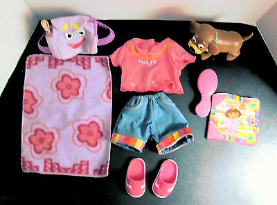 """Dora 15"""" Doll Clothes Outifit + Blanket, Backpack, Brush, Book, Shoes  & Perrito"""