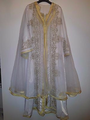 Moroccan GOLD & WHITE Intricate Takchita.3 Piece  EID / Wedding / OCCASION DRESS