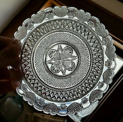 Rare Early BOSTON and SANDWICH Lacy Flint Glass Plate No Cap Ring c1825