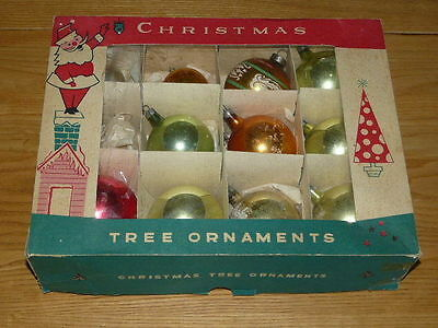 11 Vintage Poland Mercury Glass Christmas Ornaments with Original Box