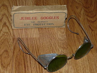 Vtg JUBILEE Round Lens Goggles Steampunk Motorcycle Green Safety Eyeglasses