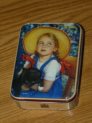 Vintage Collectable Edward Sharp & Sons Ltd. '' Young girl with black cat '' Tin