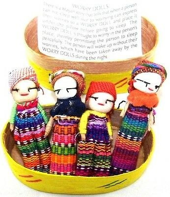 Box Of 4 Large Worry Doll Dolls Fair Trade Made In Guatemala Childrens Anxiety