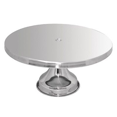 Large Silver Stainless Steel CAKE STAND Round  Candy Buffet  Dessert Table 33cm