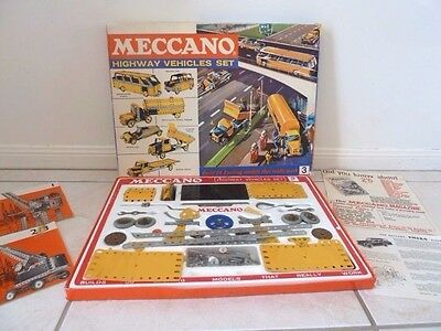 Vintage  Boxed Meccano 1960's Highway Vehicles Set 3 Instructions & Brochures
