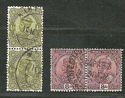 """INDIA 1911-32 Very Fine Used 2x Pair Stamps """"George V"""" Scott # 91,128 CV 3.60$"""