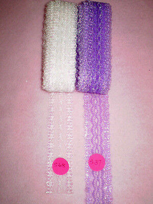 "eyelet lace 11 metres white and lilac ""OPALS"" colours   MD#01"