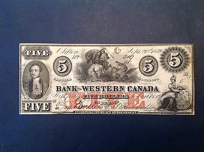 - 1859 Bank of Western Canada Five 5 Dollars  St. George and the Dragon Design