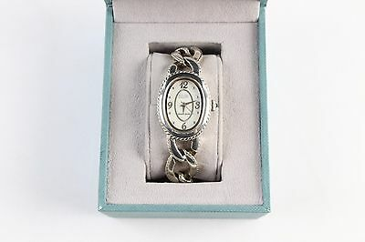 Ecclissi Sterling Silver Oval Face Chain Link Moisture Resistant Watch with Box