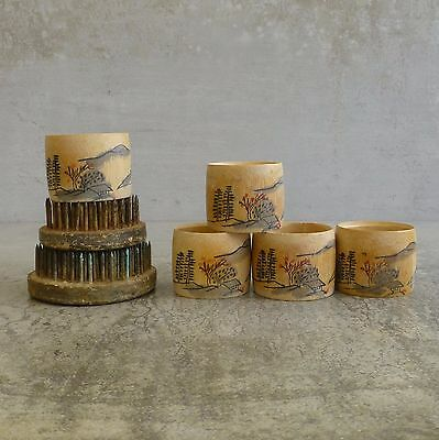 5 x Vintage Napkin Rings Hand Painted Traditional Scene Made in Japan Bamboo