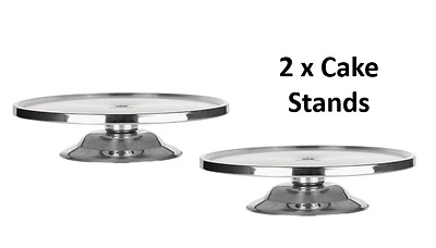 2 x Silver Stainless Steel Cake Stand Round  Candy Buffet  Dessert Table 32cm