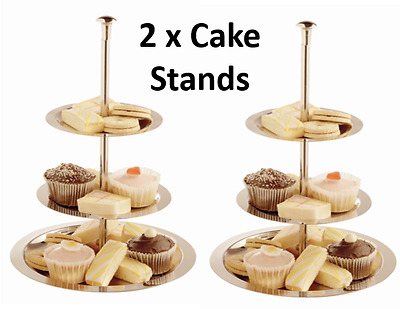 2 x Large 3 Tier Silver Stainless Steel CAKE STAND Round  Dessert Table Display