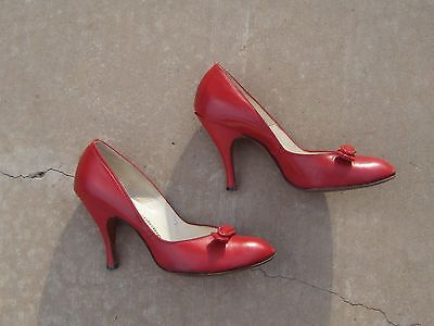 VTG 50s JACQUELINE STILETTO HEELS shoes CHERRY red LEATHER  PINUP 7.5 US