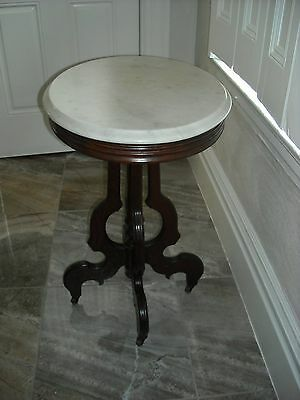 Victorian Eastlake Style White Oval Round marble top parlor table Pick UP PA