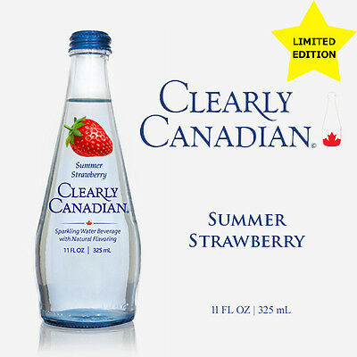Clearly Canadian - Summer Strawberry Sparkling Water 90s Drink - 11 FL OZ 325mL