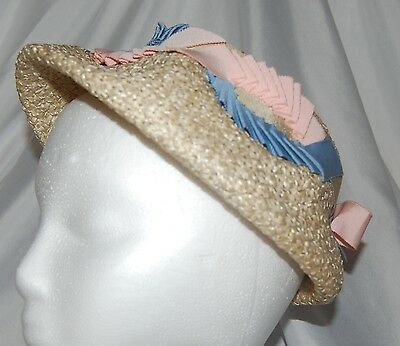 Vintage 1950's Woven Ivory with Pink and Blue Ribbons Hat