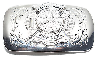 Vintage Wading River Fire Department NY Silver Tone Firefighter Belt Buckle