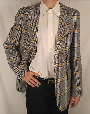 Mens Vtg Barrister Wallachs Grey Yellow Plaid Sportcoat Blazer Suit Jacket 38R