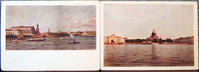 1951 Soviet postcards with views of Quays in Leningrad