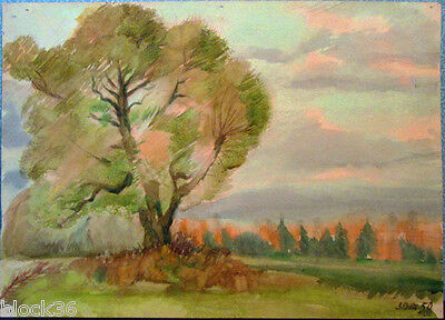 LANDSCAPE WITH BIG TREE drawing by Russian artist A.M.Gromov