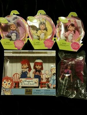 Barbie Kelly collection:  Raggedy Ann & Andy, Kelly Fluffy Tails and McDonald 3
