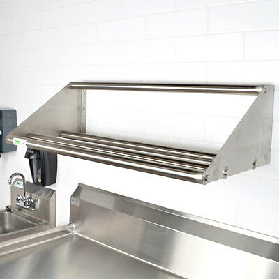 "NEW Regency 42"" Wall Mount Stainless Steel Glass Dish Rack Shelf Commercial"