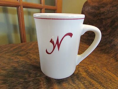 """Buffalo China Co  Restaurant Ware Mug Cup Red Stripe, With Letter """"w"""""""