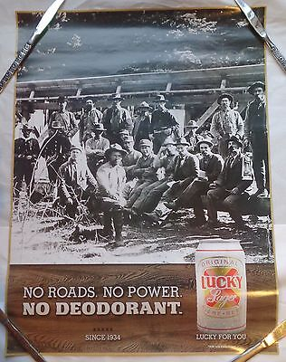 Lucky Lager Beer Poster No Roads No Power No Deodorant