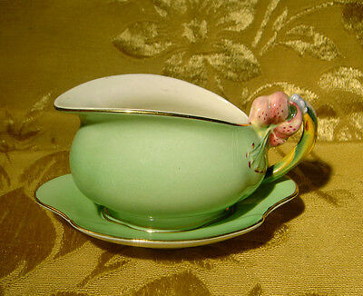 Vintage Royal Winton *tiger Lily* Green Creamer & Underplate Made In England