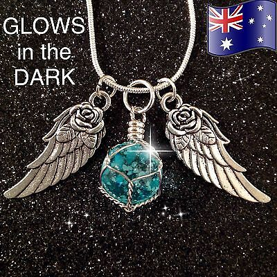 GLOW in the DARK Crystal Angel Wings 925 Sterling Silver Chain Pendant Necklace