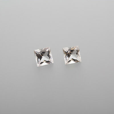 1 Pair Morganite Carreé 6x6mm 2,12 Ct facetted / real Morganite / L 4