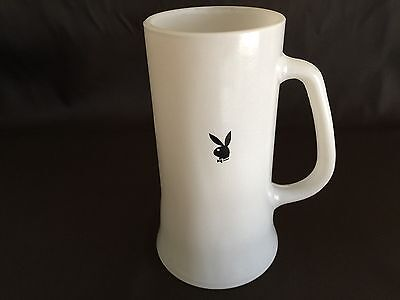 Vintage Playboy Bunny Mansion Club Milk Glass Beer Mug Stein White Frosted Glass