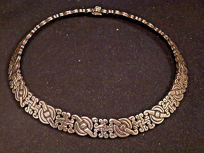 PJH Taxco Mexico Vtg Sterling Silver Modernist Scroll Panel Link Choker Necklace
