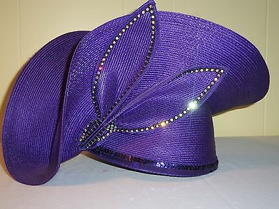 Royal Status Dressy RARE Solid Purple Special Occasion - Sunday Hat, Rhinestones