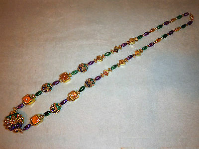 Mardi Gras LARGE BEAD Necklace Green Gold Purple DICE and Bead Ball