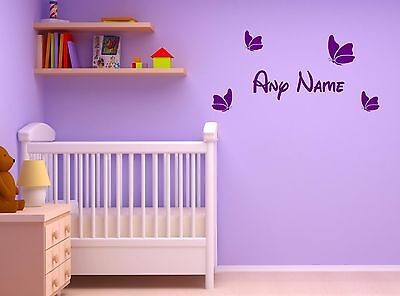 Personalised Cute Butterfly Wall Decal Sticker Vinyl Decor Art Girl Bedroom Gift