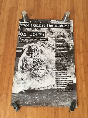 1993 Rage Against The Machine + House Of Pain Original Tour Poster Burning Monk