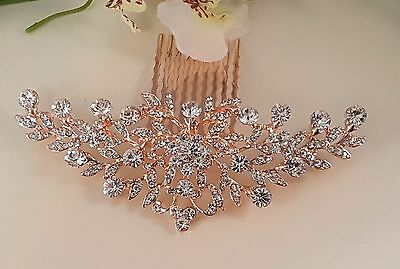 Luxury Bridal Rose Gold Crystal Hair Comb