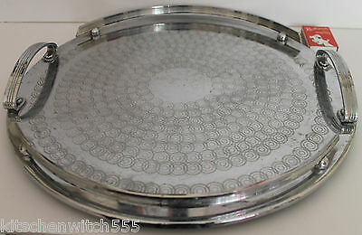 Art Deco SS Round Tray Etched Serving Drinks Vanity Ranleigh Australia Vintage x