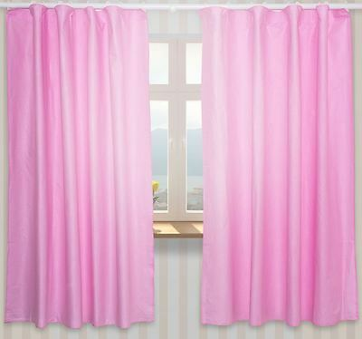 Nursery Curtains with Decorative Bows For Baby's Room 62x62inch - Plain Pink