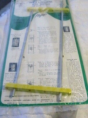 """Hairpin  Crochet  Lace Loom  Adjustable to 8 Widths - 12"""" Long Aluminum Vintage"""