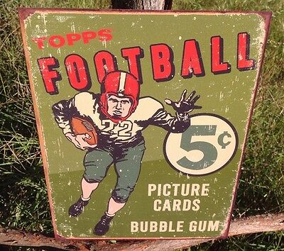 TOPPS FOOTBALL Cards 5 Cents Sign Tin Vintage Garage Bar Decor Old Rustic Poster
