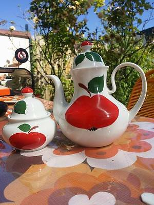 🍎 Bavaria Germany Cafetiere & Sucrier Pomme Weiden Patricia Vintage 70 🍎 Tbe