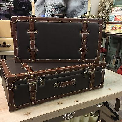 Dark Leather Look  Vintage Suitcases X2 Leather Strap & Buckle 1940s 1960s
