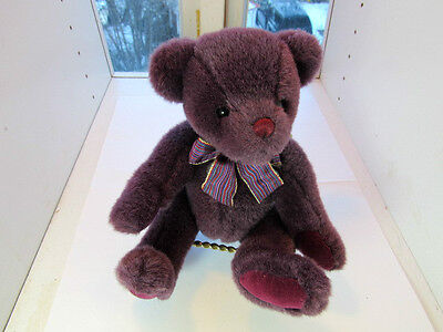 """Gund COLLECTOR'S CLASSICS  Teddy Bear - PURPLE w/  Bow  9""""  Jointed Velvet Paws"""